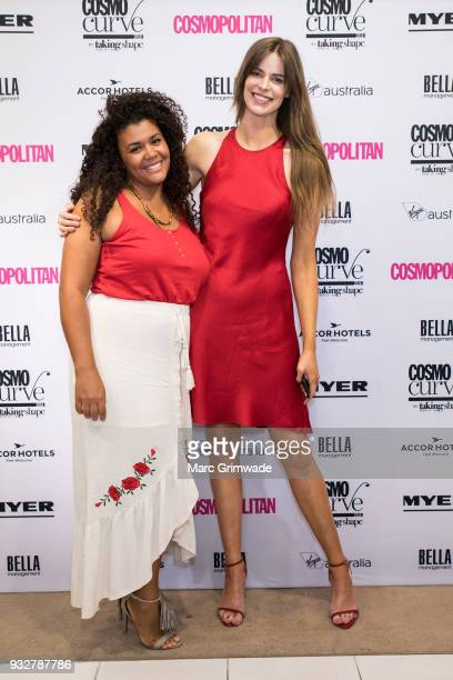 Brisbane winner Loren Burton and International model Robyn Lawley at the Cosmo Curve on March 16 2018 in Brisbane Australia