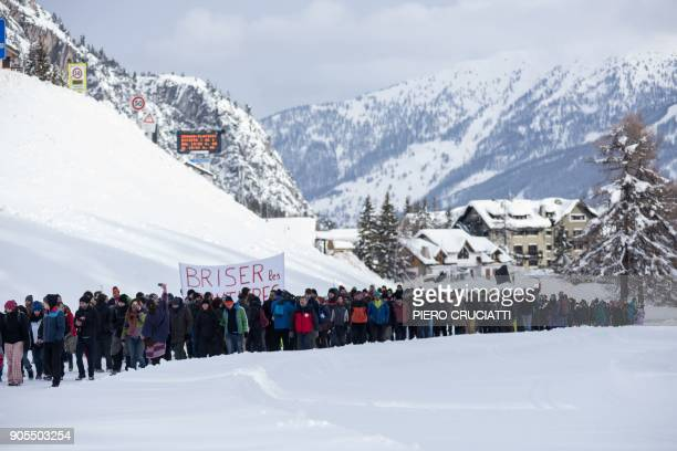 Briser les frontieres activist group march between Claviere Italy and Montgenevre France in support of migrants and to ask free movement between...