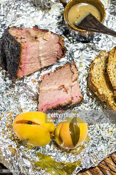 BBQ Brisket and Pickled Peaches