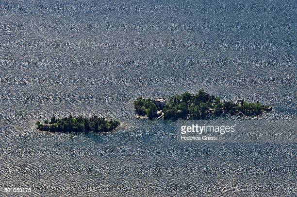 brissago islands in a windy day, view from above - ascona stock photos and pictures