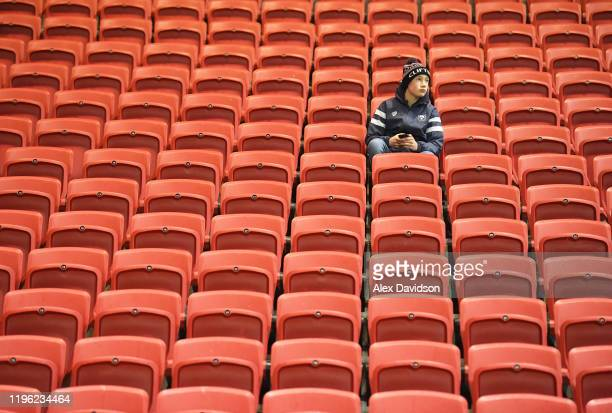 Bristol Bears fan looks on from the stands prior to kick off during the Gallagher Premiership Rugby match between Bristol Bears and Wasps at Ashton...