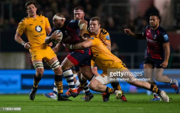 Bristol Bears' John Afoa in action during the Gallagher Premiership Rugby match between Bristol Bears and Wasps at on December 27 2019 in Bristol...