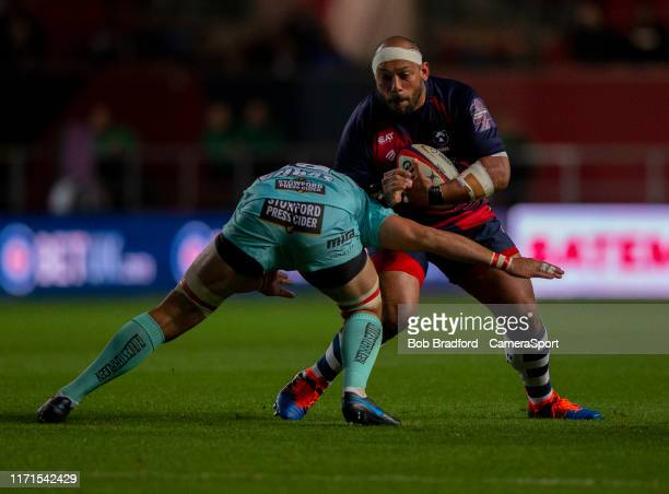 Bristol Bears' John Afoa in action during the Premiership Rugby Cup Second Round match between Bristol Bears and Gloucester Rugby at Ashton Gate on...