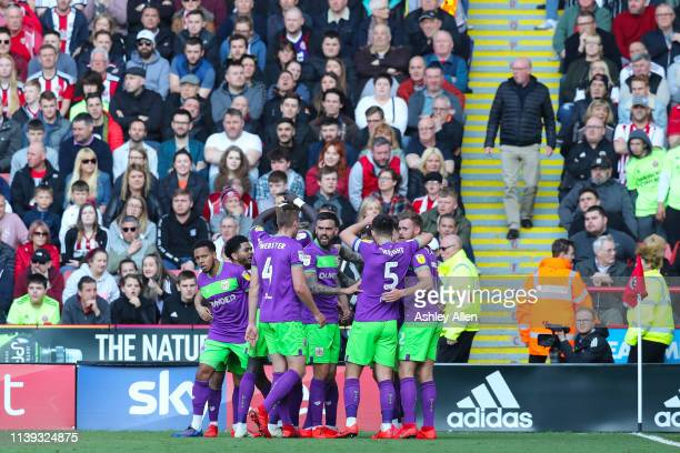 Bristol City celebrate a goal at Bramall Lane during the Sky Bet Championship match between Sheffield United and Bristol City at Bramall Lane on...