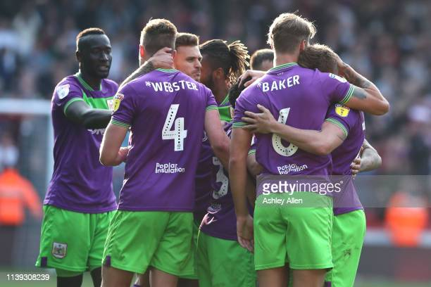 Bristol City celebrate their win over Sheffield United during the Sky Bet Championship match between Sheffield United and Bristol City at Bramall...