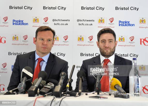Bristol City Chief Operating Officer Mark Ashton and new manager Lee Johnson chair a press conference at Ashton Gate Stadium.