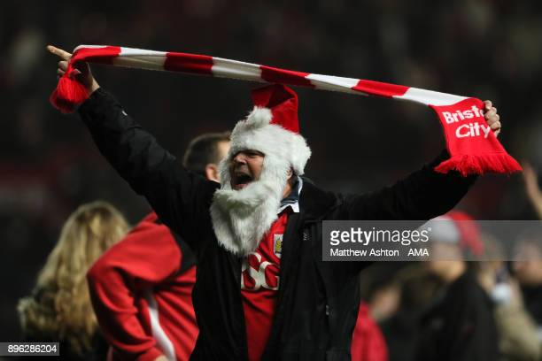 Bristol City fan celebrates at the end of the Carabao Cup QuarterFinal match between Bristol City and Manchester United at Ashton Gate on December 20...