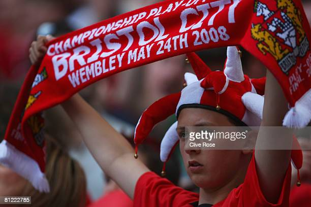 Bristol City fan enjoys the atmosphere prior to the Coca Cola Championship Playoff Final match between Hull City and Bristol City at Wembley Stadium...