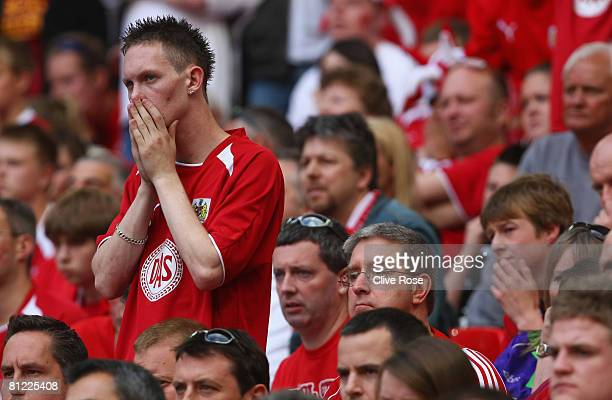Bristol City fan looks pensive during the Coca Cola Championship Playoff Final match between Hull City and Bristol City at Wembley Stadium on May 24...