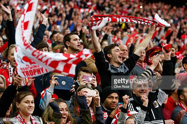 Bristol City fans celebrate during the Johnstone's Paint Trophy Final between Bristol City and Walsall at Wembley Stadium on March 22 2015 in London...