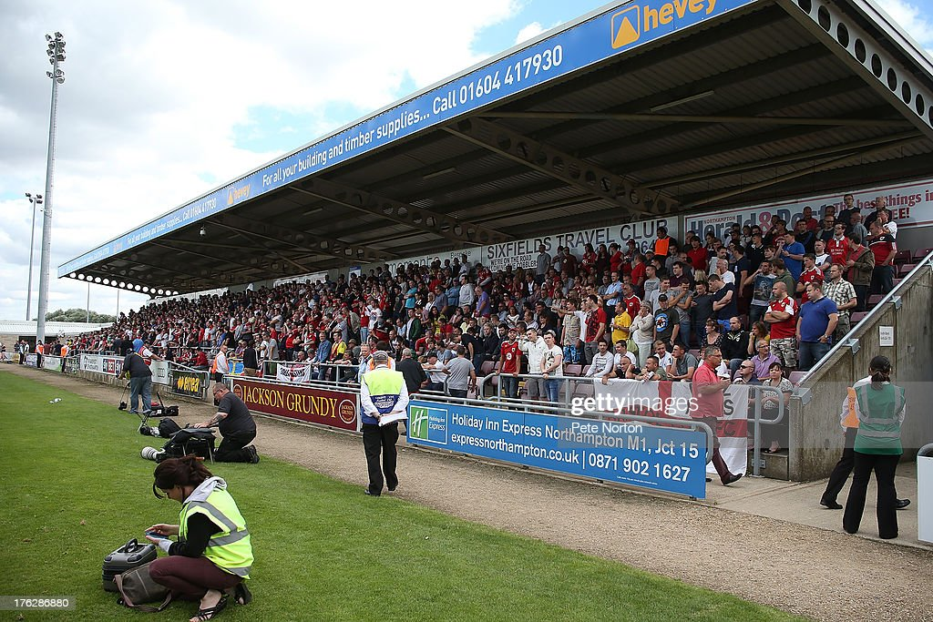 Bristol City fans fill the South Stand during the Sky Bet League One match between Coventry City and Bristol City at Sixfields Stadium on August 11, 2013 in Northampton, England.