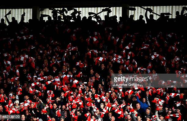 Bristol City fans show their support during the FA Cup Fourth Round match between Bristol City and West Ham United at Ashton Gate on January 25 2015...