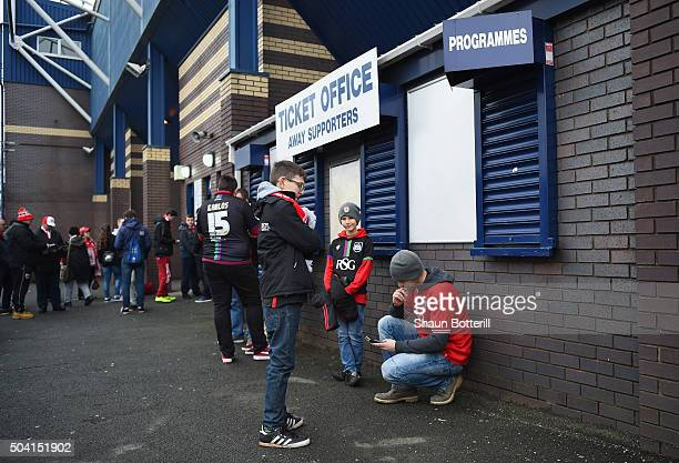 Bristol City fans wait for the gates to open before the Emirates FA Cup Third Round match between West Bromwich Albion and Bristol City at The...