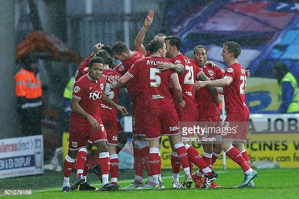 Bristol City FC celebrates after scoring the opening goal during the Sky Bet Championship match between Huddersfield Town and Bristol City on...