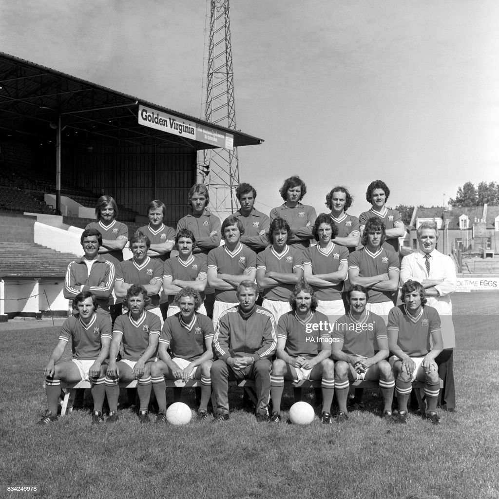 Bristol City football club, back row, from left: Keith Fear, Joe Durrell, Len Bond, Ray Cashley, John Shaw, Mike Brolly, and Clive Whitehead. Middle row, from left: Ken Wimshurst (coach), John Emanuel, Donnie Gillies, David Rodgers, gary Collier, Tom Ritchie, Paul Cheesley and Les Bardsley (physiotherapist). Front row, from left: Trevor Tainton, Brian Drysdale, Geoff Merrick, Alan Dicks (manager) Gerry Gow, Gerry Sweeney, and Jimmy Mann.