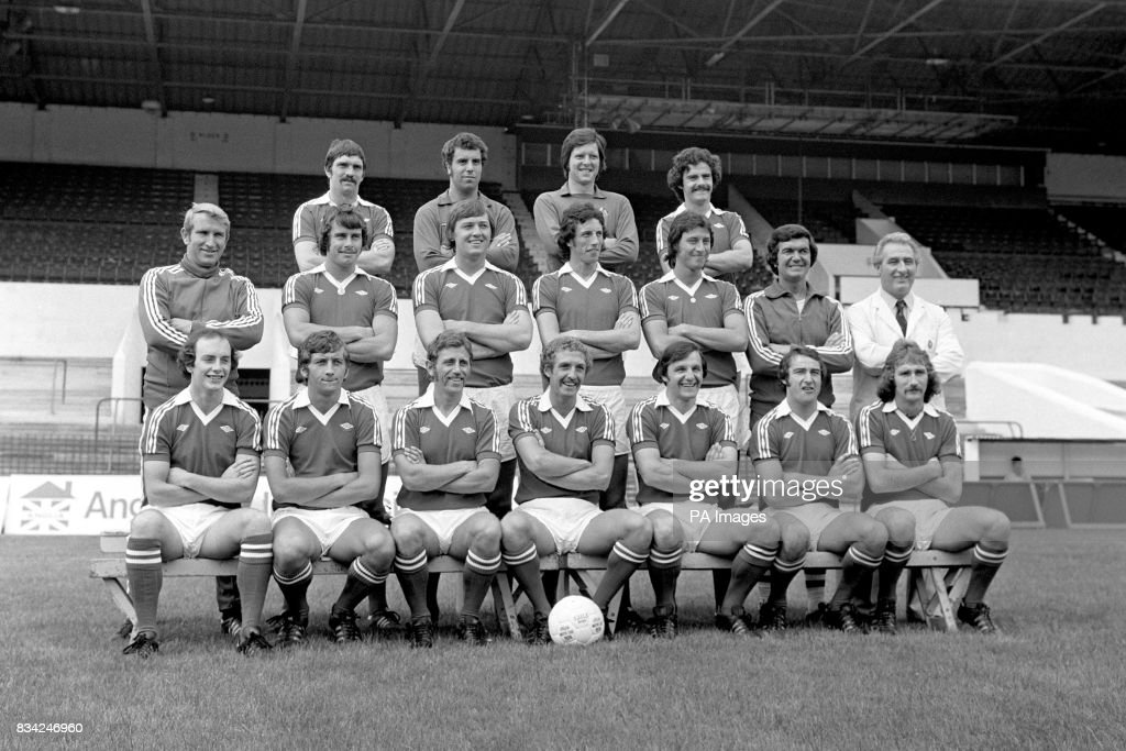Bristol City Football Club, left to right Back Row: Don Gillies, Ray Cashley, John Shaw, and Clive Whitehead. Middle row, from left: Alan Dicks (manager) Paul Cheesley, David Rodgers, Tom Ritchie, Garry Collier, Ken Wimshurt (coach), and Les Bardsley (physiotherapist). Front row, from left: Mike Brolly, Jimmy Mann, Brian Drysdale, Geoff Merrick, Trevor Tainton, Gerry Sweeney, and Gerry Gow.