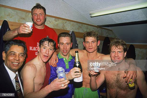 Bristol City fotballers celebrating their shock FA Cup 3rd Round replay victory over Liverpool FC at Anfield 25th January 1994