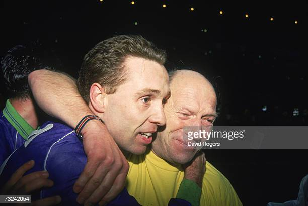Bristol City goal scorer Brian Tinnion celebrating his teams shock victory over Liverpool FC in their FA Cup 3rd round replay match at Anfield with...