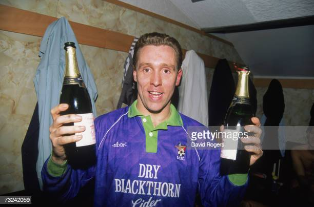 Bristol City goal scorer Brian Tinnion celebrating his teams shock victory over Liverpool FC in their FA Cup 3rd round replay match at Anfield, 25th...