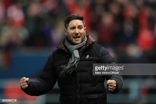 Bristol City manager Lee Johnson celebrates a late goal during the Carabao Cup SemiFinal 2nd leg match between Bristol City and Manchester City at...