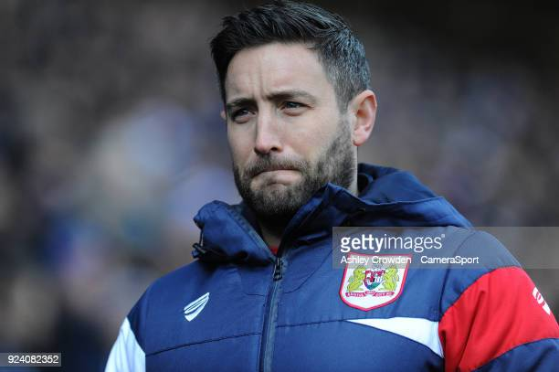 Bristol City manager Lee Johnson during the Sky Bet Championship match between Cardiff City and Bristol City at Cardiff City Stadium on February 25...