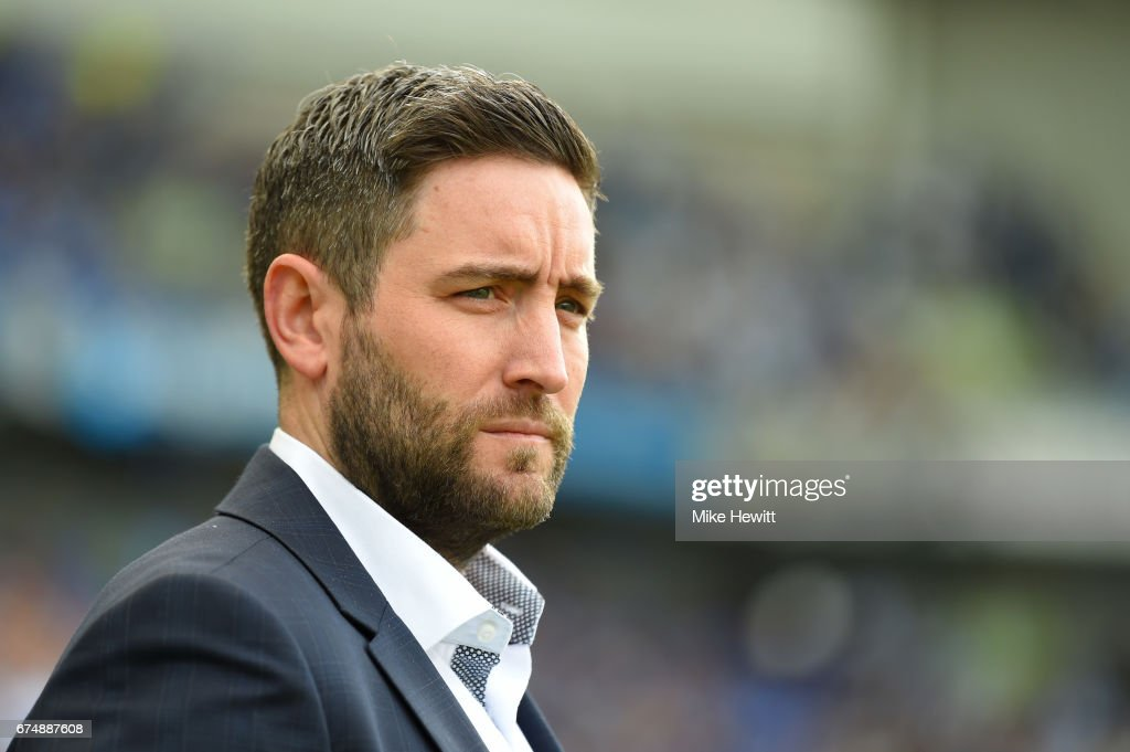Bristol City manager Lee Johnson looks on during the Sky Bet Championship match between Brighton & Hove Albion and Bristol City at Amex Stadium on April 29, 2017 in Brighton, England.