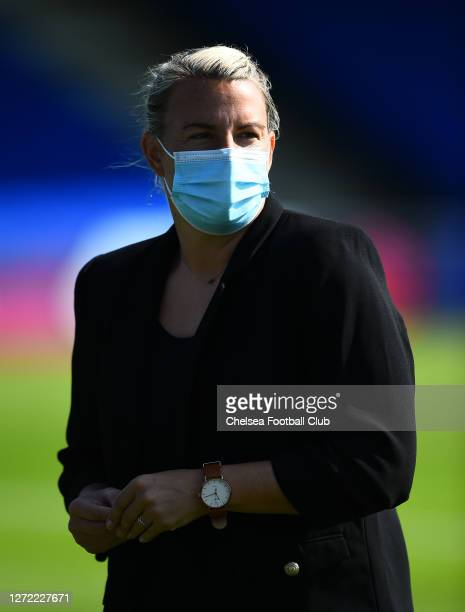Bristol City manager Tanya Oxtoby looks on prior to the Barclays FA Women's Super League match between Chelsea Women and Bristol City Women at...