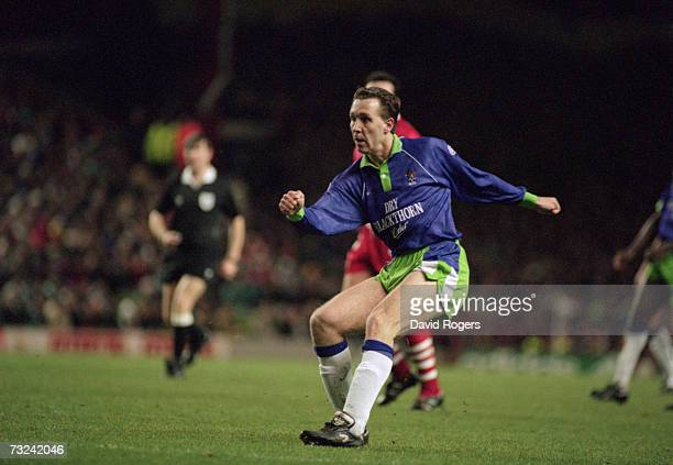 Bristol City midfielder Brian Tinnion scoring the only goal in the FA Cup 3rd round replay match against Liverpool FC at Anfield 25th January 1994