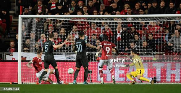 Bristol City player Aden Flint scores the second City goal during the Carabao Cup SemiFinal Second Leg match between Bristol City and Manchester City...