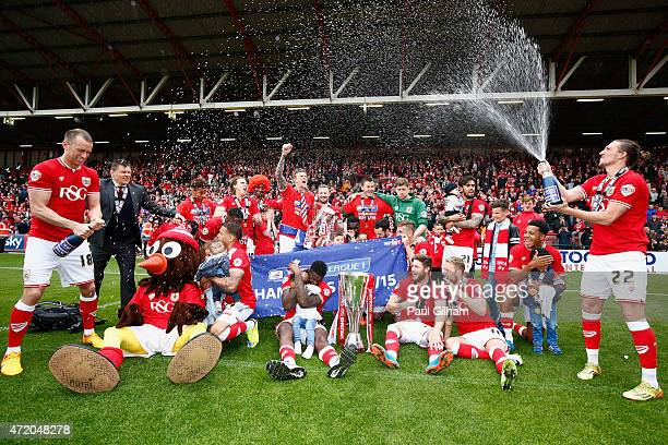 Bristol City players and management celebrate winning the league during the Sky Bet League One match between Bristol City and Walsall at Ashton Gate...