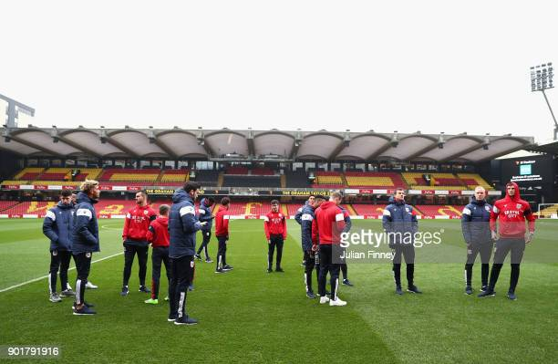 Bristol City players inspect the pitch prior to The Emirates FA Cup Third Round match between Watford and Bristol City at Vicarage Road on January 6...