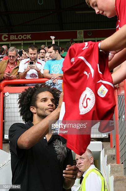 Bristol City signing David James is introduced to the fans prior to kick off during the preseason friendly match between Bristol City and Blackpool...