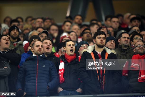 Bristol City supporters cheer on their team during the English League Cup semifinal first leg football match between Manchester City and Bristol City...