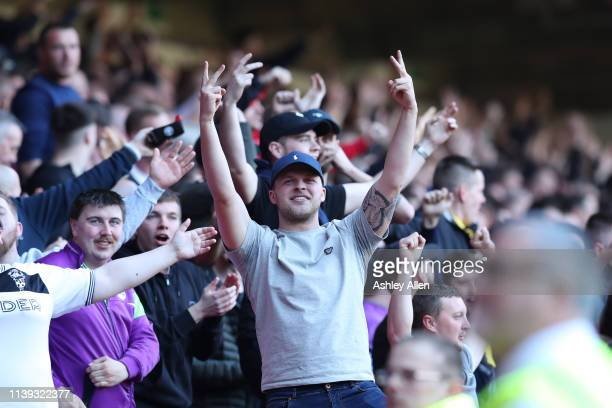 Bristol City supporters gesture to the Sheffield United fans during the Sky Bet Championship match between Sheffield United and Bristol City at...