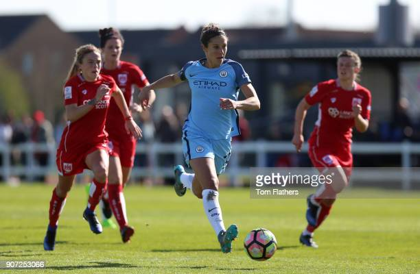 Bristol City Women v Manchester City Women Womens FA Cup Fifth Round Stoke Gifford Stadium Manchester City's Carli Lloyd in action against Bristol...