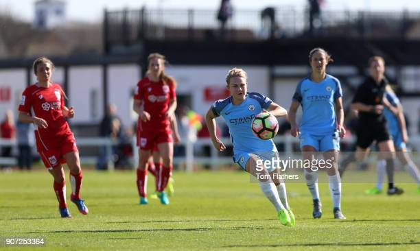 Bristol City Women v Manchester City Women Womens FA Cup Fifth Round Stoke Gifford Stadium Manchester City's Izzy Christiansen in action against...