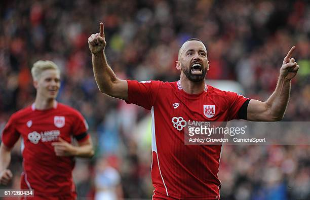 CELE Bristol City's Aaron Wilbraham celebrates scoring the opening goal during the Sky Bet Championship match between Bristol City and Blackburn...