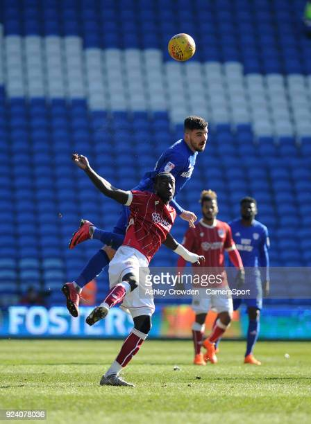 Bristol City's Famara Diedhiou vies for possession with Cardiff City's Callum Paterson during the Sky Bet Championship match between Cardiff City and...