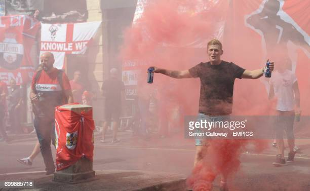 Bristol City's fans outside Three Lions pub during there annual flag day.