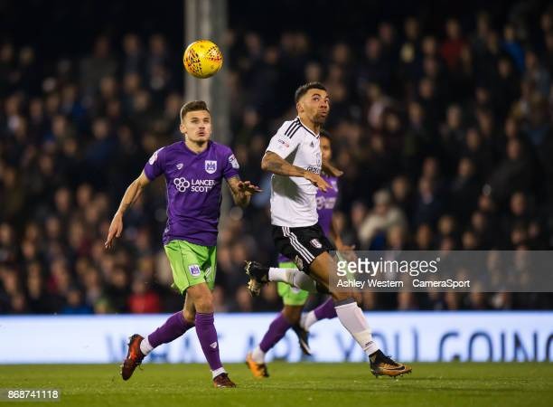 Bristol City's Jamie Paterson battles for possession with Fulham's Ryan Fredericks during the Sky Bet Championship match between Fulham and Bristol...