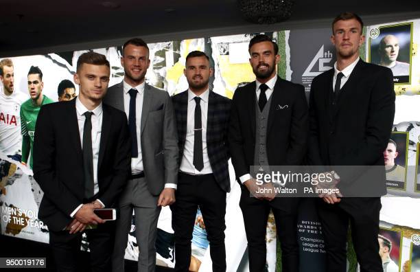 Bristol City's Jamie Paterson guest Bailey Wright Marlon Pack and Aden Flint during the 2018 PFA Awards at the Grosvenor House Hotel London