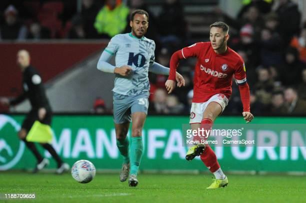 Bristol City's Josh Brownhill under pressure from Blackburn Rovers' Elliott Bennett during the Sky Bet Championship match between Bristol City and...