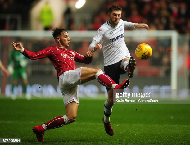 Bristol City's Josh Brownhill under pressure from Preston North End's Tom Barkhuizen during the Sky Bet Championship match between Bristol City and...