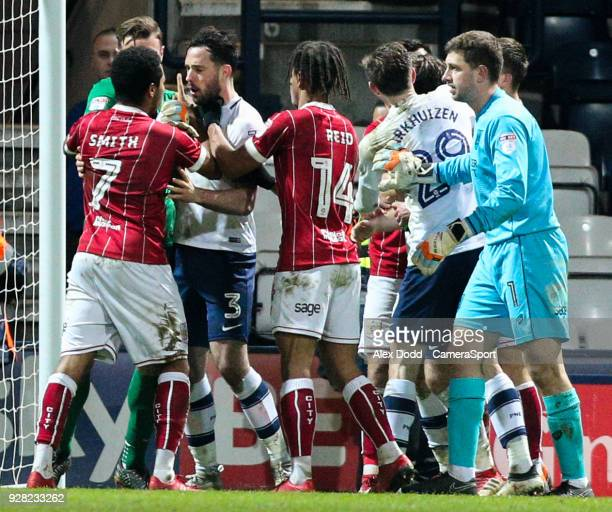 Bristol City's Korey Smith has words with Preston North End's Greg Cunningham after the final whistle during the Sky Bet Championship match between...