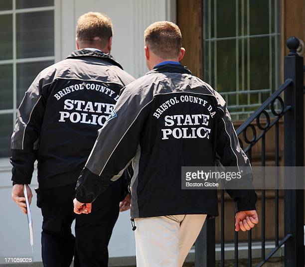 Bristol County State Police paid a short visit to the home of New England Patriots player Aaron Hernandez in North Attleborough Mass Friday June 21...