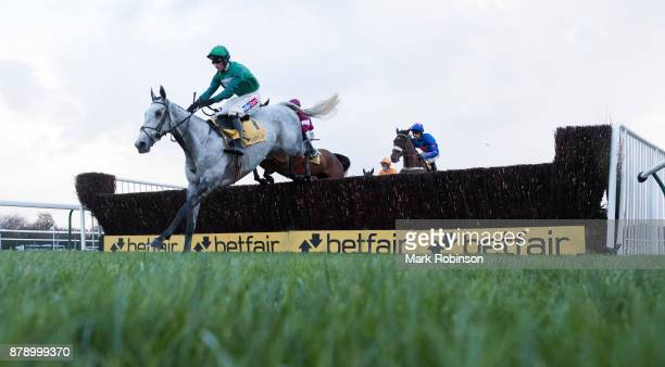 HAYDOCK ENGLAND NOVEMBER Bristol De Mai ridden by Daryl Jaob clears the 1st fence during the Betfair Chase on November 25 2017 in Haydock England