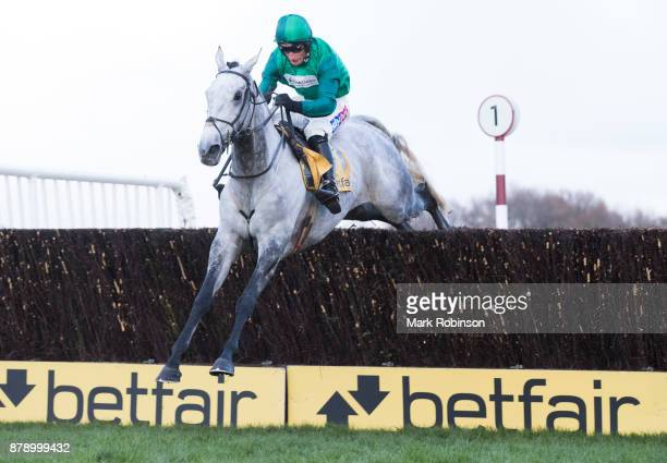 HAYDOCK ENGLAND NOVEMBER Bristol De Mai ridden by Daryl Jaob jumps the last fence to win the Betfair Chase on November 25 2017 in Haydock England