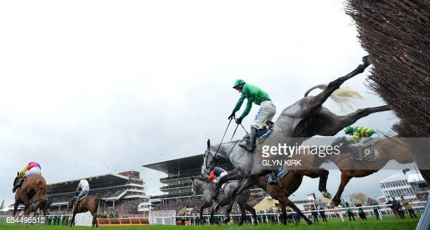 'Bristol de Mai' ridden by jockey Daryl Jaccob jumps a hurdle during the Gold Cup race on the final day of the Cheltenham Festival horse racing...