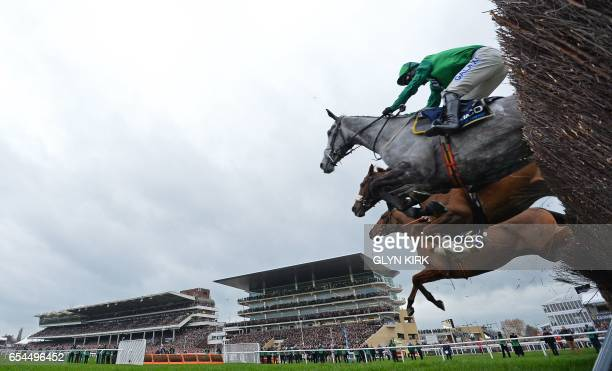 'Bristol de Mai' ridden by jockey Daryl Jaccob jumps a hurdle jumps a hurdle on the first lap during the Gold Cup race on the final day of the...