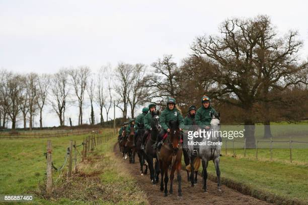 Bristol de Mei and Blaklion lead the way on the polytrack gallop during a stable visit to the yard of national hunt trainer Nigel TwistonDavies at...